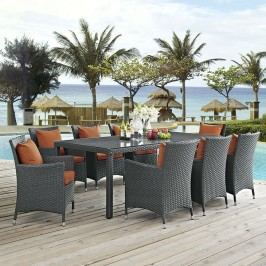 Sojourn 9 Piece Outdoor Patio Sunbrella?? Dining Set in Canvas Tuscan