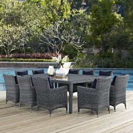 Summon 11 Piece Outdoor Patio Sunbrella?? Dining Set in Canvas Navy