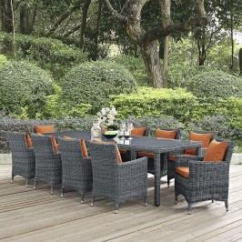 Summon 11 Piece Outdoor Patio Sunbrella?? Dining Set in Canvas Tuscan