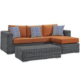 Summon 3 Piece Outdoor Patio Sunbrella?? Sectional Set in Canvas Tuscan