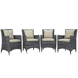 Summon 4 Piece Outdoor Patio Sunbrella?? Dining Set in Antique Canvas Beige