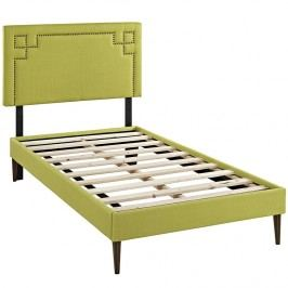 Josie  Twin Fabric Platform Bed with Round Tapered Legs in Wheatgrass