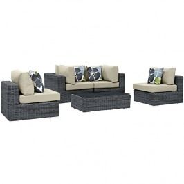 Summon 5 Piece Outdoor Patio Sunbrella?? Sectional Set in Canvas Antique Beige