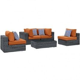 Summon 5 Piece Outdoor Patio Sunbrella?? Sectional Set in Canvas Tuscan