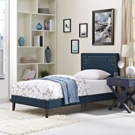 Josie  Twin Fabric Platform Bed with Squared Tapered Legs in Azure