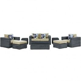 Summon 8 Piece Outdoor Patio Sunbrella?? Sectional Set in Canvas Antique Beige