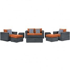 Summon 8 Piece Outdoor Patio Sunbrella?? Sectional Set in Canvas Tuscan