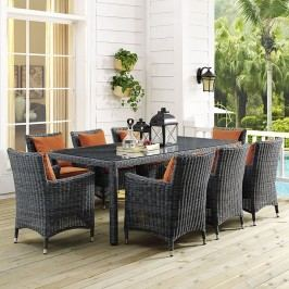 Summon 9 Piece Outdoor Patio Sunbrella?? Dining Set in Canvas Tuscan