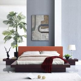 Freja 3 Piece Queen Fabric Bedroom Set in Cappuccino Orange