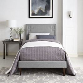 Josie  Twin Fabric Platform Bed with Squared Tapered Legs in Light Gray
