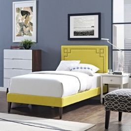 Josie  Twin Fabric Platform Bed with Squared Tapered Legs in Sunny
