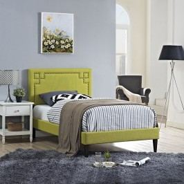 Josie  Twin Fabric Platform Bed with Squared Tapered Legs in Wheatgrass