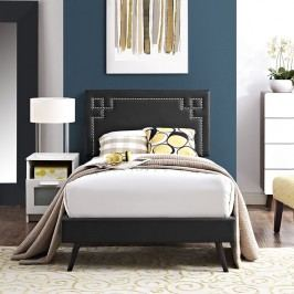 Josie  Twin Vinyl Platform Bed with Round Splayed Legs in Black