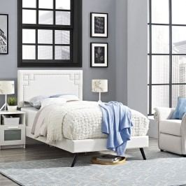 Josie  Twin Vinyl Platform Bed with Round Splayed Legs in White