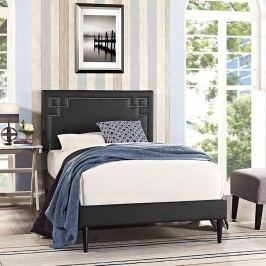 Josie  Twin Vinyl Platform Bed with Round Tapered Legs in Black