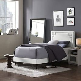 Josie  Twin Vinyl Platform Bed with Round Tapered Legs in White