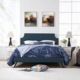 Laura Full Fabric Platform Bed with Round Splayed Legs in Azure