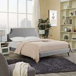Laura Full Fabric Platform Bed with Round Splayed Legs in Light Gray