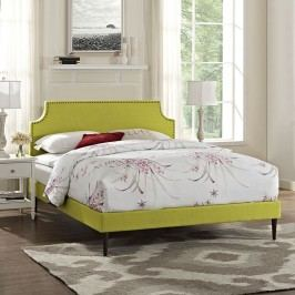 Laura Full Fabric Platform Bed with Round Tapered Legs in Wheatgrass