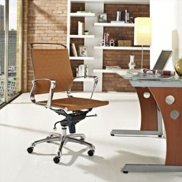 Vibe Mid Back Leather Office Chair in Tan