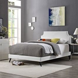 Laura Full Vinyl Platform Bed with Round Splayed Legs in White