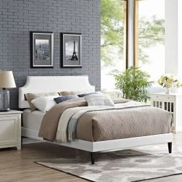 Laura Full Vinyl Platform Bed with Squared Tapered Legs in White