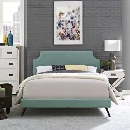 Laura King Fabric Platform Bed with Round Splayed Legs in Laguna