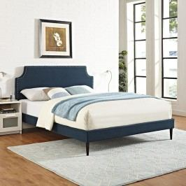 Laura King Fabric Platform Bed with Round Tapered Legs in Azure