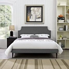 Laura King Fabric Platform Bed with Round Tapered Legs in Gray