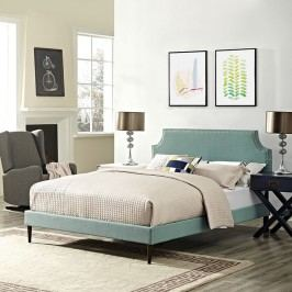 Laura King Fabric Platform Bed with Round Tapered Legs in Laguna