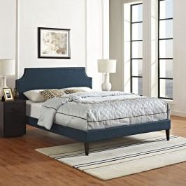 Laura King Fabric Platform Bed with Squared Tapered Legs in Azure