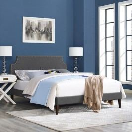 Laura King Fabric Platform Bed with Squared Tapered Legs in Gray