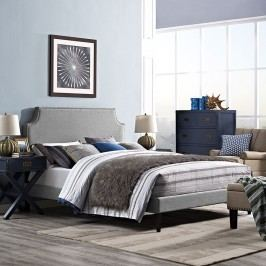 Laura King Fabric Platform Bed with Squared Tapered Legs in Light Gray