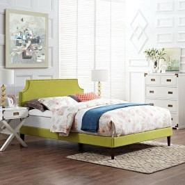 Laura King Fabric Platform Bed with Squared Tapered Legs in Wheatgrass
