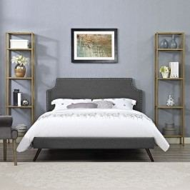 Laura Queen Fabric Platform Bed with Round Splayed Legs in Gray