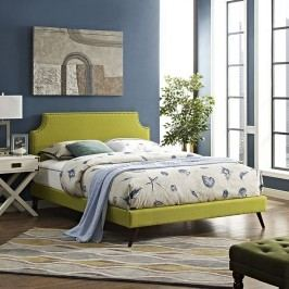 Laura Queen Fabric Platform Bed with Round Splayed Legs in Wheatgrass