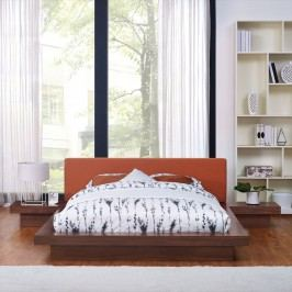Freja 3 Piece Queen Fabric Bedroom Set in Walnut Orange