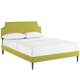 Laura Queen Fabric Platform Bed with Round Tapered Legs in Wheatgrass