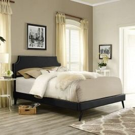 Laura Queen Vinyl Platform Bed with Round Splayed Legs in Black