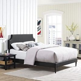 Laura Queen Vinyl Platform Bed with Round Tapered Legs in Black