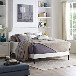Laura Queen Vinyl Platform Bed with Round Tapered Legs in White