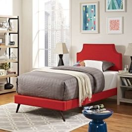 Laura Twin Fabric Platform Bed with Round Splayed Legs in Atomic Red