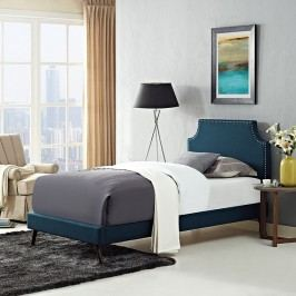 Laura Twin Fabric Platform Bed with Round Splayed Legs in Azure