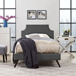 Laura Twin Fabric Platform Bed with Round Splayed Legs in Gray