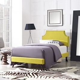 Laura Twin Fabric Platform Bed with Round Splayed Legs in Sunny