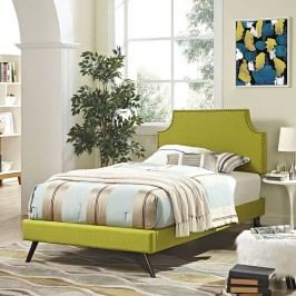 Laura Twin Fabric Platform Bed with Round Splayed Legs in Wheatgrass