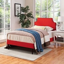 Laura Twin Fabric Platform Bed with Round Tapered Legs in Atomic Red