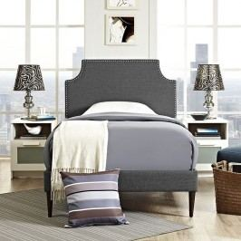 Laura Twin Fabric Platform Bed with Round Tapered Legs in Gray