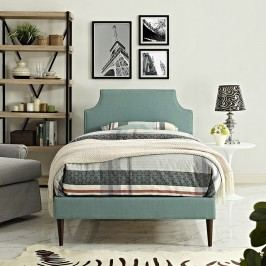Laura Twin Fabric Platform Bed with Round Tapered Legs in Laguna