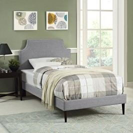 Laura Twin Fabric Platform Bed with Round Tapered Legs in Light Gray